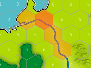 A hexagon map with the city tiles in orange. The dark orange is the central tile of the city, this needs to be defended to hold the city.