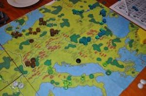 The blue player switched from technology to expansion later in the game and was unmolested due to their position on the map.